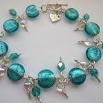 Teal Blue Glass Bracelet, T..