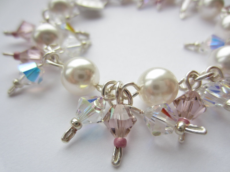 Swarovski Crystal and Pearl Bracelet, Wedding Bracelet, Bridal Bracelet, Pink Crystal, Vintage Rose