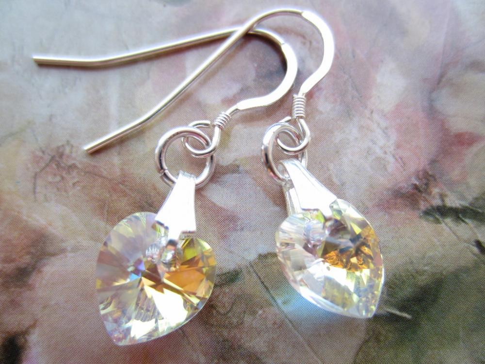 Crystal Earrings, Heart Earrings, Swarovski Crystal Earrings, Drop Earrings, Bridal Jewellery, Wedding Earrings, Crystal AB