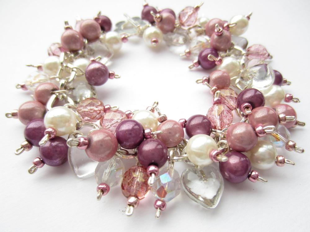 Cluster Bracelet, Pearl Bracelet, Pink, Purple, Miracle Beads, Glass Hearts, Pearls, Charm Bracelet
