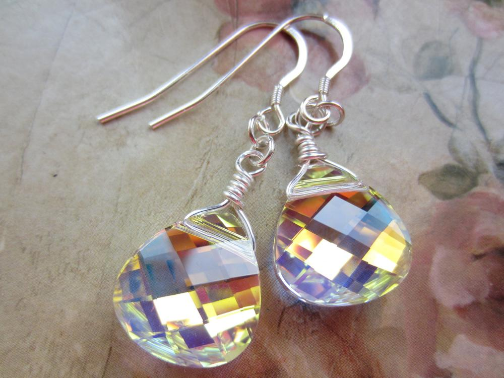Swarovski Crystal Earrings, Wire Wrapped Earrings, Crystal Briolettes, Crystal Drop Earrings, Bridal Jewellery, Wedding Earrings
