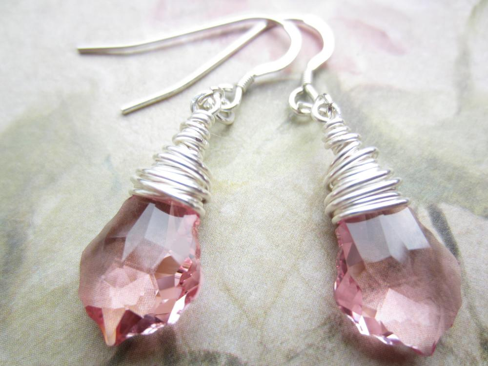 Crystal Earrings, Swarovski Earrings, Pink Crystal Earrings, Wire Wrapped, Briolette, Pale Pink, Baroque Earrings, Bridal Earrings, Wedding