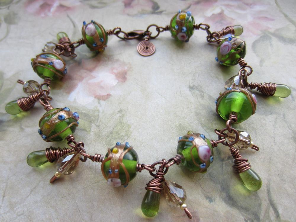 Emerald Green Bracelet, Copper Wire Bracelet, Lampwork Bead Bracelet, Cluster Bracelet, Green, Antique Copper, Gold, Steampunk