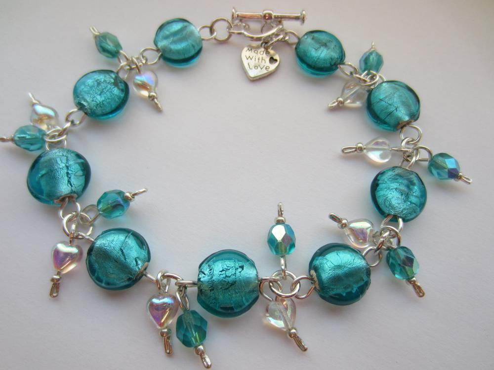 Teal Blue Glass Bracelet, Teal Blue Indian Glass, Teal Blue Beaded Bracelet, Crystal Heart Bracelet