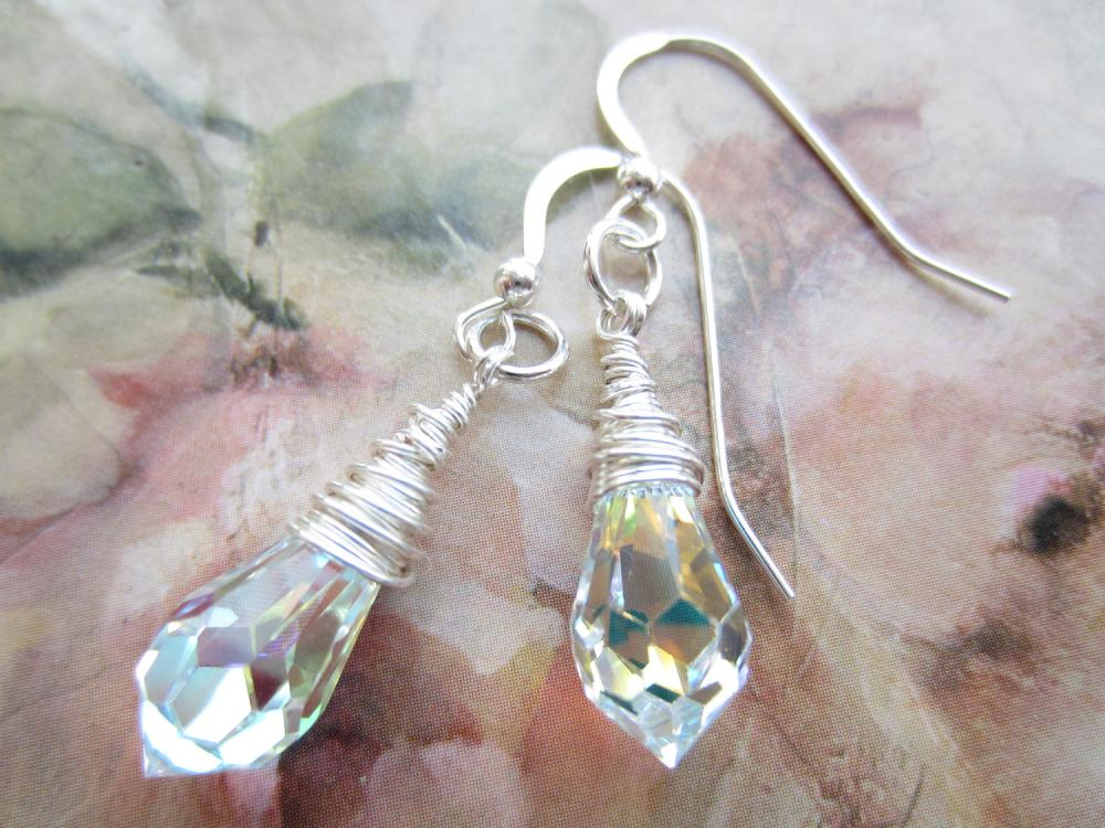 Crystal Earrings, Swarovski, Bridal Jewellery, Wedding Earrings, Crystal Drop Earrings, Wire Wrapped