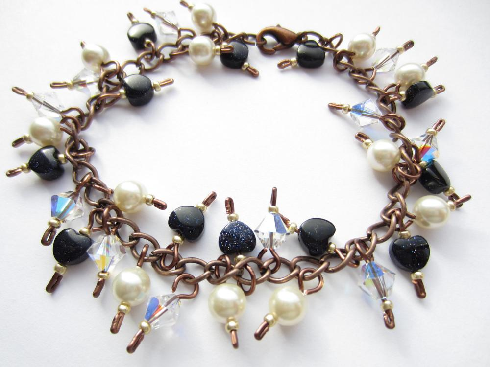 Goldstone Bracelet, Swarovski Crystal, Swarovski Pearl, Antique Copper Bracelet, Blue Goldstone