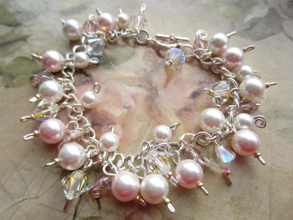Crystal Bracelet, Swarovski Crystal Bracelet, Cluster Bracelet, Pink Pearl, Ivory Pearl, Swarovski Bracelet, Bridal Braclete, Wedding