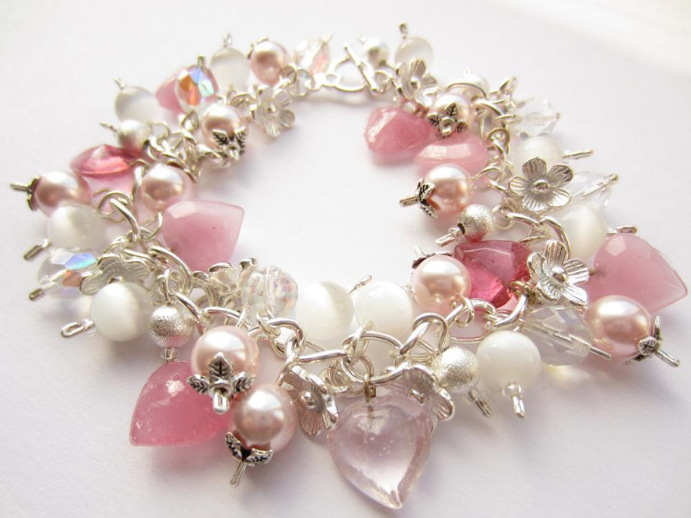 Cluster Bracelet, Pink Swarovski Pearls, Cats Eye Beads, Stardust, Silver Bracelet, Glass Hearts, Flower Charms