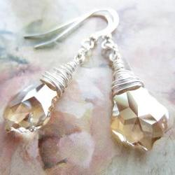 Swarovski Crystal Earrings, Wire Wrapped Swarovski Earrings, Crystal Briolettes, Baroque Earrings, Golden Crystal