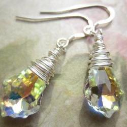 Swarovski Crystal Earrings, Wire Wrapped Earrings, Crystal Briolette, Baroque Earrings, Silver and Crystal