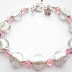 Crystal Bracelet, Glass Bead Bracelet, Pink Swarovski Crystals, Indian Glass Beads, Flower Charm