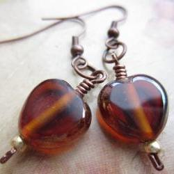Topaz Glass Earrings, Glass Heart Earrings, Copper Wire Earrings, Golden Glass, Copper Glass, Autumn, Fall, Drop Earrings, Dangle