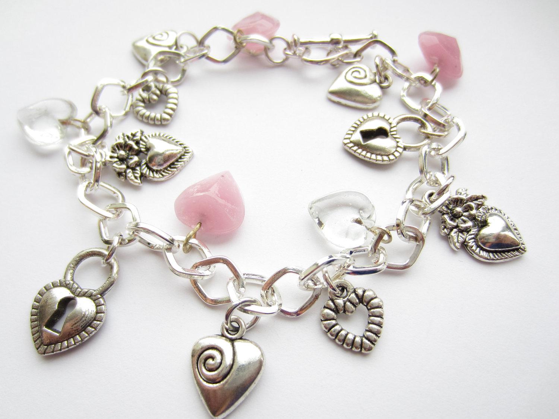 silver charm bracelet hearts charm bracelet pink hearts